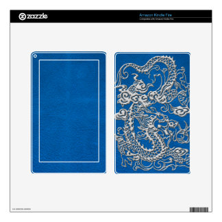 Silver Dragon on lapis Blue Leather Texture Kindle Fire Skin