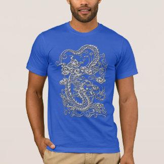 Silver Dragon on Lapis Blue T shirt
