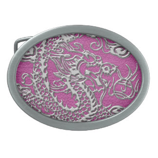 Silver Dragon on Magenta Pink Leather Texture Oval Belt Buckle