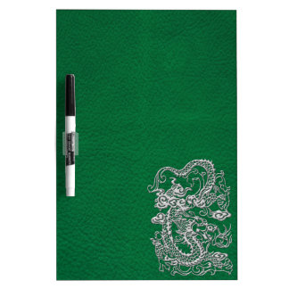 Silver Dragon on Pine Green Leather Texture Dry-Erase Boards