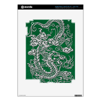 Silver Dragon on Pine Green Leather Texture iPad 3 Skins
