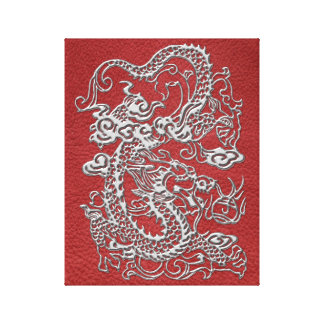 Silver Dragon on Red Leather Texture Canvas Print