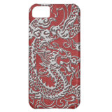 Silver Dragon on Red Leather Texture iPhone 5C Cover (<em>$44.95</em>)