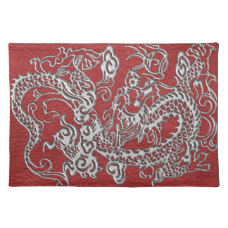 Silver Dragon on Red Leather Texture Cloth Placemat