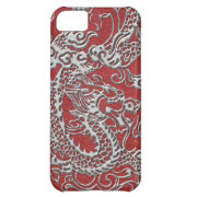 Silver Dragon on Red Leather Texture Cover For iPhone 5C (<em>$33.45</em>)