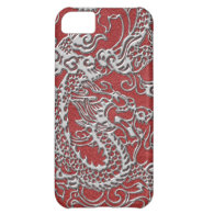 Silver Dragon on Red Leather Texture Cover For iPhone 5C (<em>$33.50</em>)