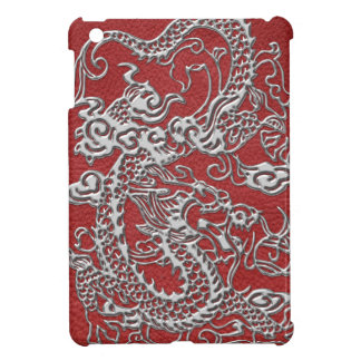 Silver Dragon on Red Leather Texture Cover For The iPad Mini
