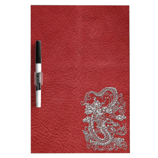 Silver Dragon on Red Leather Texture Dry Erase White Board