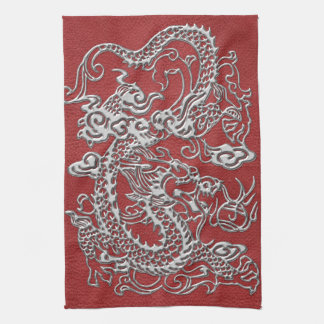 Silver Dragon on Red Leather Texture Hand Towel