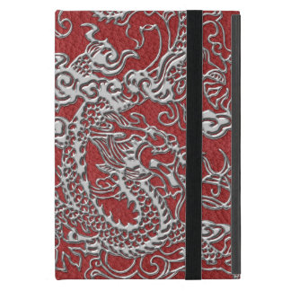 Silver Dragon on Red Leather Texture iPad Mini Cases