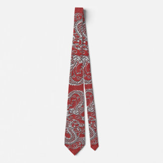 Silver Dragon on Red Leather Texture Tie