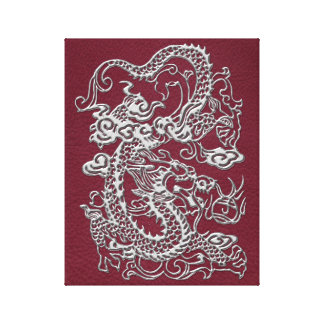Silver Dragon on Red Wine Leather Texture Canvas Print