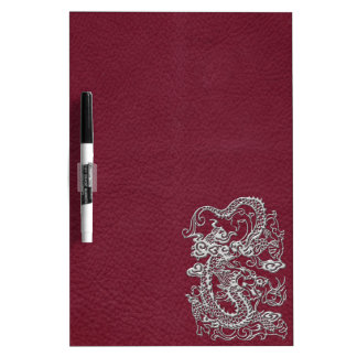 Silver Dragon on Red Wine Leather Texture Dry-Erase Whiteboard