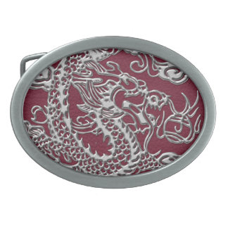 Silver Dragon on Red Wine Leather Texture Oval Belt Buckle