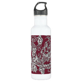 Silver Dragon on Red Wine Leather Texture 24oz Water Bottle