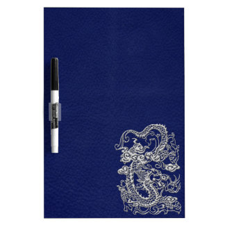 Silver Dragon on Royal Blue Leather Texture Dry Erase White Board