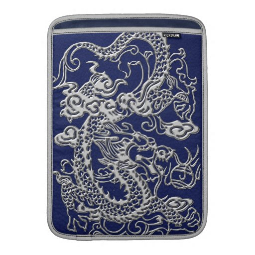 Silver Dragon on Royal Blue Leather Texture MacBook Air Sleeve