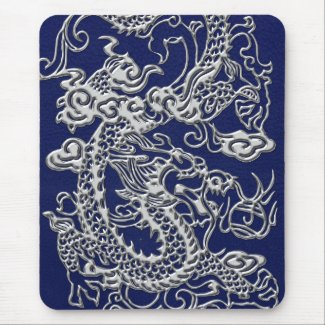 Silver Dragon on Royal Blue Leather Texture Mousepad