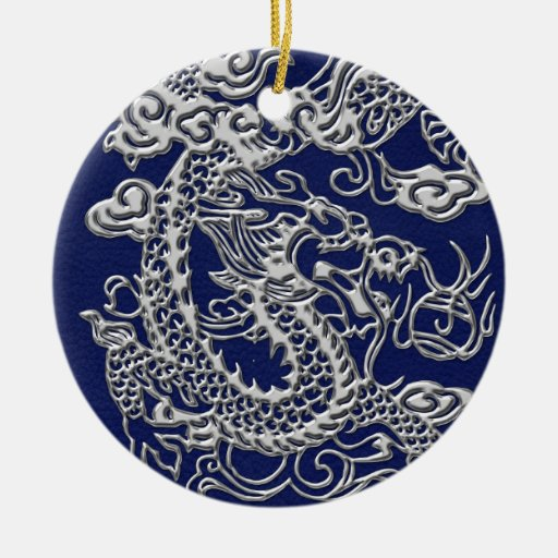 Silver Dragon on Royal Blue Leather Texture Double-Sided Ceramic Round Christmas Ornament