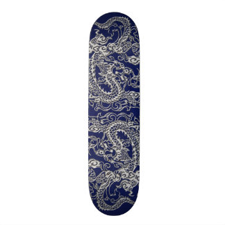 Silver Dragon on Royal Blue Leather Texture Skateboards
