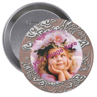 Silver Dragon on Taupe Leather Texture Pinback Button
