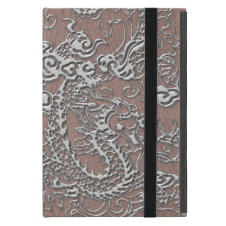 Silver Dragon on Taupe Leather Texture Cover For iPad Mini