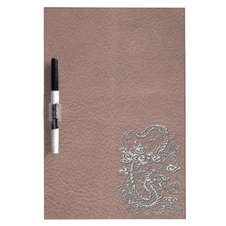 Silver Dragon on Taupe Leather Texture Dry Erase Boards