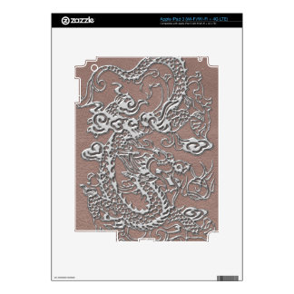 Silver Dragon on Taupe Leather Texture iPad 3 Skin