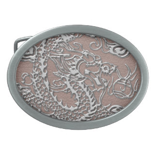 Silver Dragon on Taupe Leather Texture Oval Belt Buckle