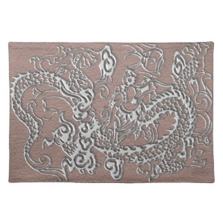 Silver Dragon on Taupe Leather Texture Placemat