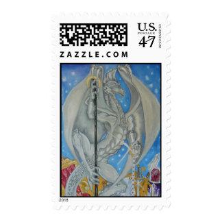 Silver Dragon Postage Stamp