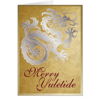 Silver Dragon - Yule Greeting Card