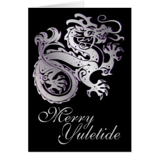Silver Dragon - Yule Greeting Card 2B