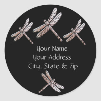 Silver Dragonflies on Black address stickers