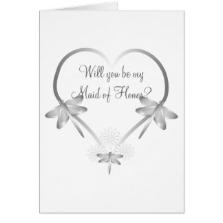 Silver Dragonfly Heart Maid Of Honor Request Card