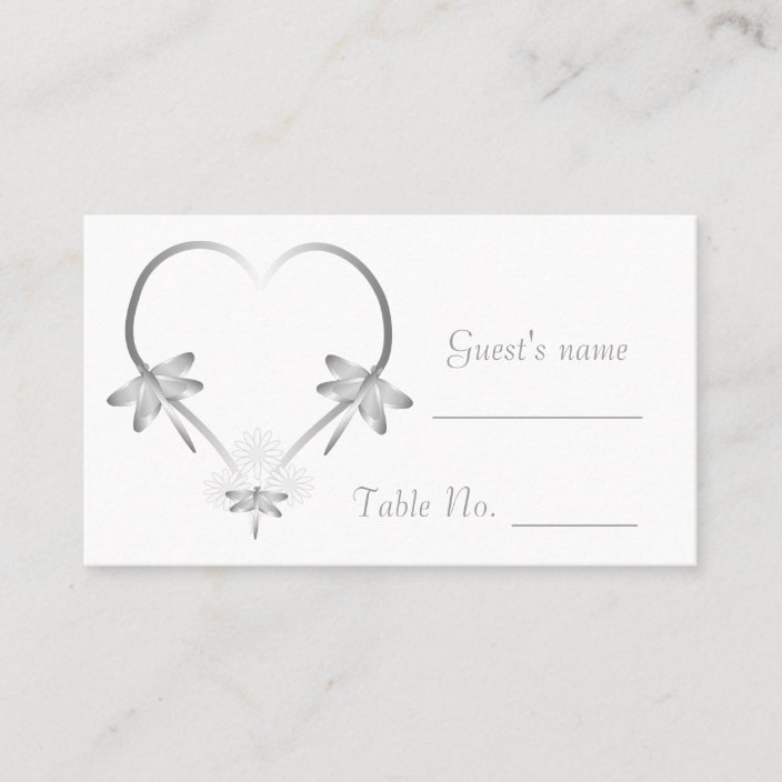Wedding Table Place Cards  Silver Heart