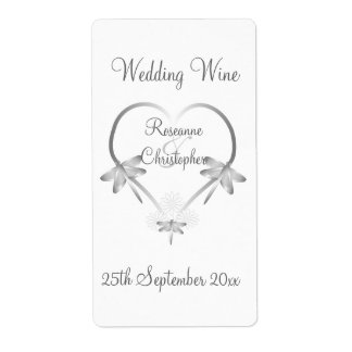 Silver Dragonfly Heart Wedding Wine Label