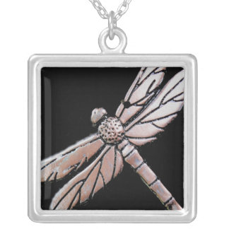 Silver dragonfly on black background custom necklace