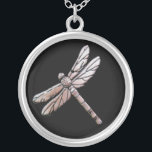 """Silver dragonfly on black background silver plated necklace<br><div class=""""desc"""">Silver dragonfly on a black background.</div>"""