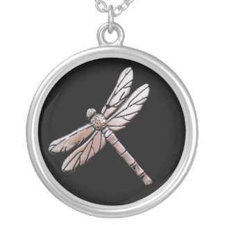 Silver dragonfly on black background silver plated necklace