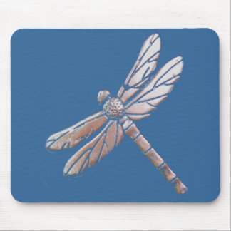 Silver Dragonfly on blue background Mousepads