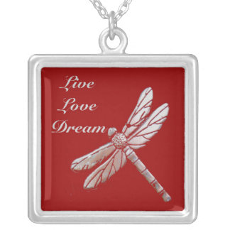 Silver dragonfly with live, love, dream on red silver plated necklace