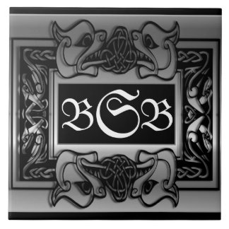 """Silver Dragons Breath"" 3 Initial Monogram Tile"
