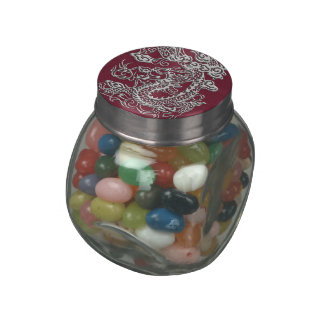 Silver Dragons Leather Texture Glass Candy Jars