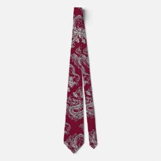 Silver Dragons Leather Texture Tie