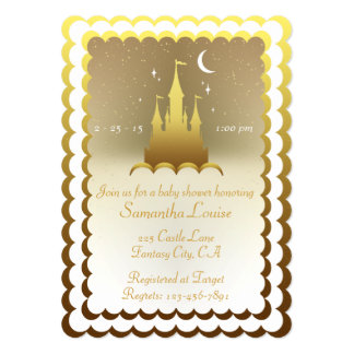 Silver Dreamy Castle In The Clouds Baby Shower Card