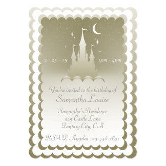 Silver Dreamy Castle In The Clouds Birthday Card