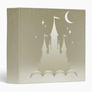 Silver Dreamy Castle In The Clouds Starry Moon Sky 3 Ring Binder