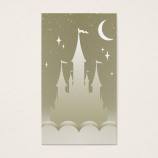 Silver Dreamy Castle In The Clouds Starry Moon Sky Business Card