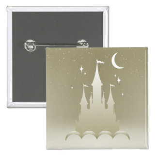 Silver Dreamy Castle In The Clouds Starry Moon Sky Button